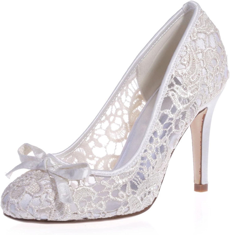 Ellenhouse Womens' Lace Hollow Stiletto Heel Round Toe Pumps shoes EH036