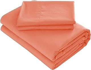 Prime Bedding Bed Sheets - 4 Piece Queen Sheets, Deep Pocket Fitted Sheet, Flat Sheet, Pillow Cases - Queen Sheet Set, Coral