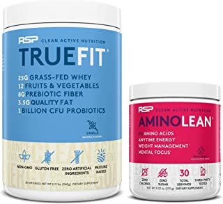 AminoLean Pre Workout Energy (Fruit Punch 30 Servings) with TrueFit Protein Powder (Vanilla 2 LB)