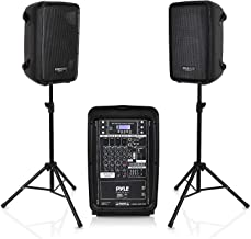 PA Speaker DJ Mixer Bundle - 300 W Portable Wireless Bluetooth Sound System with USB SD  XLR 1/4