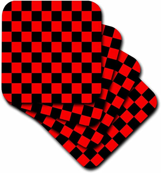 3dRose CST 20433 1 Red And Black Checkered Print Soft Coasters Set Of 4