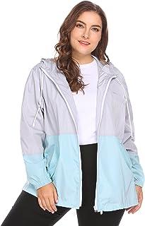 32fdac7f3d0 IN VOLAND Women s Plus Size Raincoat Rain Jacket Lightweight Waterproof Coat  Jacket Windbreaker with Hooded