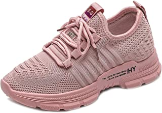 Yong Ding Women Low Top Sneakers Breathable Lace Up Casual Trainers with Knitting Mesh Fabric for Running Walking Fitness