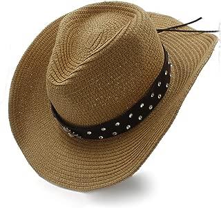 SGJFZD Women Men Straw Caps WITT Fashion Belt Western Cowboy Hat for Gentleman Sombrero (Color : Coffee, Size : 56-58cm)