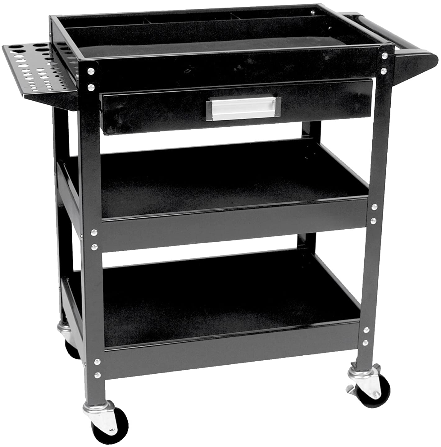 Performance Tool W54006 Locking (Black) 3 Shelf Utility CART W/Drawer