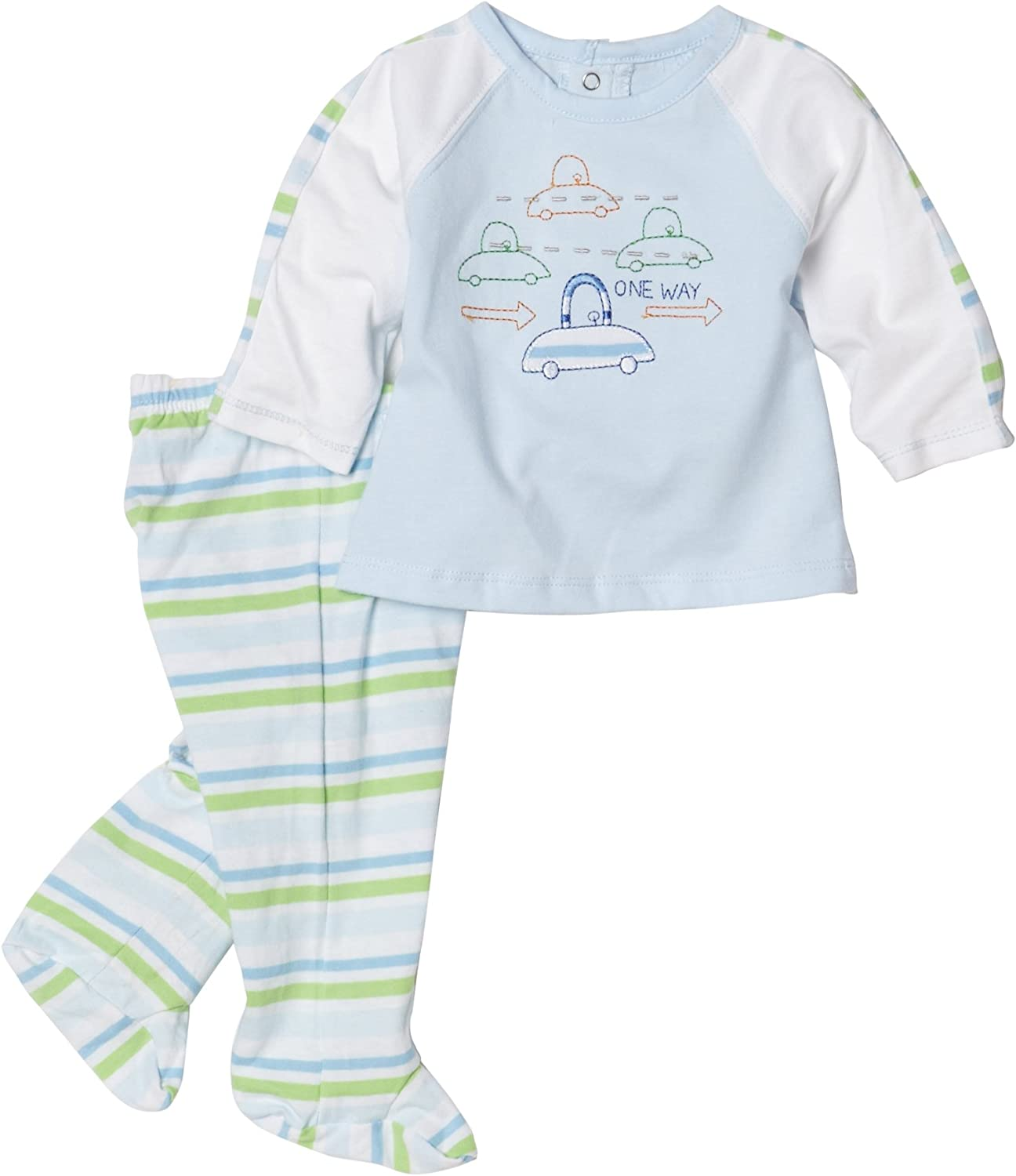 Absorba Newborn Baby Boys' Striped Traffic 2 Piece Footed Pant set