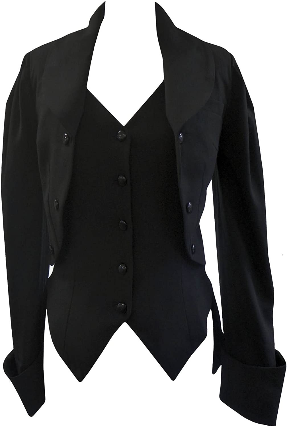 Black Victorian Gothic Corset Fishtail Mock Waistcoat Jacket Coat US Sizes 628