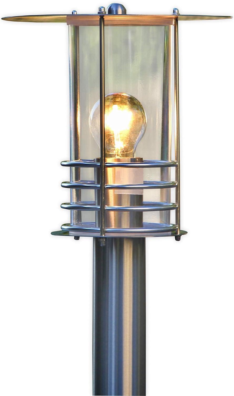 Lampenwelt Auenleuchte 'Miko' (spritzwassergeschützt) (Modern) in Alu aus Edelstahl (1 flammig, E27, A++) - Wegeleuchte, Pollerleuchte, Wegelampe, Sockelleuchte
