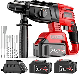 WAKYME 3 in 1Hand Electric Drill, Cordless Hammer Impact Drill Rotary Hammer Kit with Two LI-Ion Batteries 4000mAh, 21V, 3...