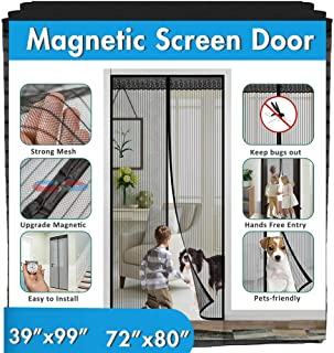 "Magnetic Screen Door, IKSTAR Upgrade Mesh Door Instant Closure with Full Frame Hook&Loop, Keep Fly/Bugs Out, Pet/Kids Walk Through Freely Fit Door Up to 36""x82"" 70""x79"""""""