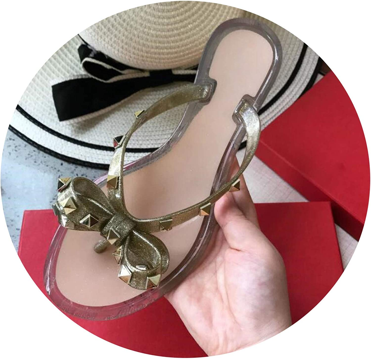 Beach Woman Flip Flops PVC Slides Female Sandals Rivet Bowknot Slip on Flat