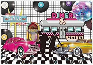 Allenjoy 7x5ft Back to 50s Theme Retro Backdrop 1950s Rock Roll Diner Rockin Party Supplies Sock Hop Classic Disco Crazy Dance Prom Birthday Decorations Studio Portrait Photography Props Favors