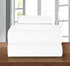 Elegant Comfort 612RW-Twin-White Luxury Soft 1500 Thread Count Egyptian Quality 3-Piece Sheet Wrinkle and Fade Resistant B...