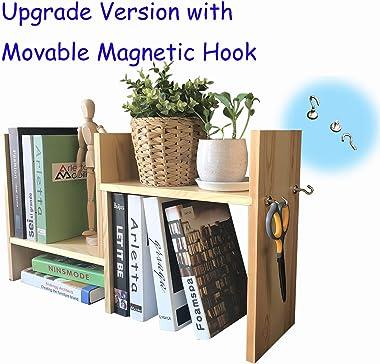 Desk Shelf Desktop Bookshelf Desktop Bookcase Office Storage Rack Adjustable Desktop Shelf with Free Style Ingenious Design 1