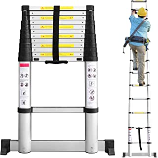 Sotech Telescoping Ladder with Stabilizer bar, Max Extension 12.5ft (3.8m) Portable Step Ladder for Roofing Business, Home Inspector and Household Chores, Aluminum, Soft-Close and Pinch-Free EN131