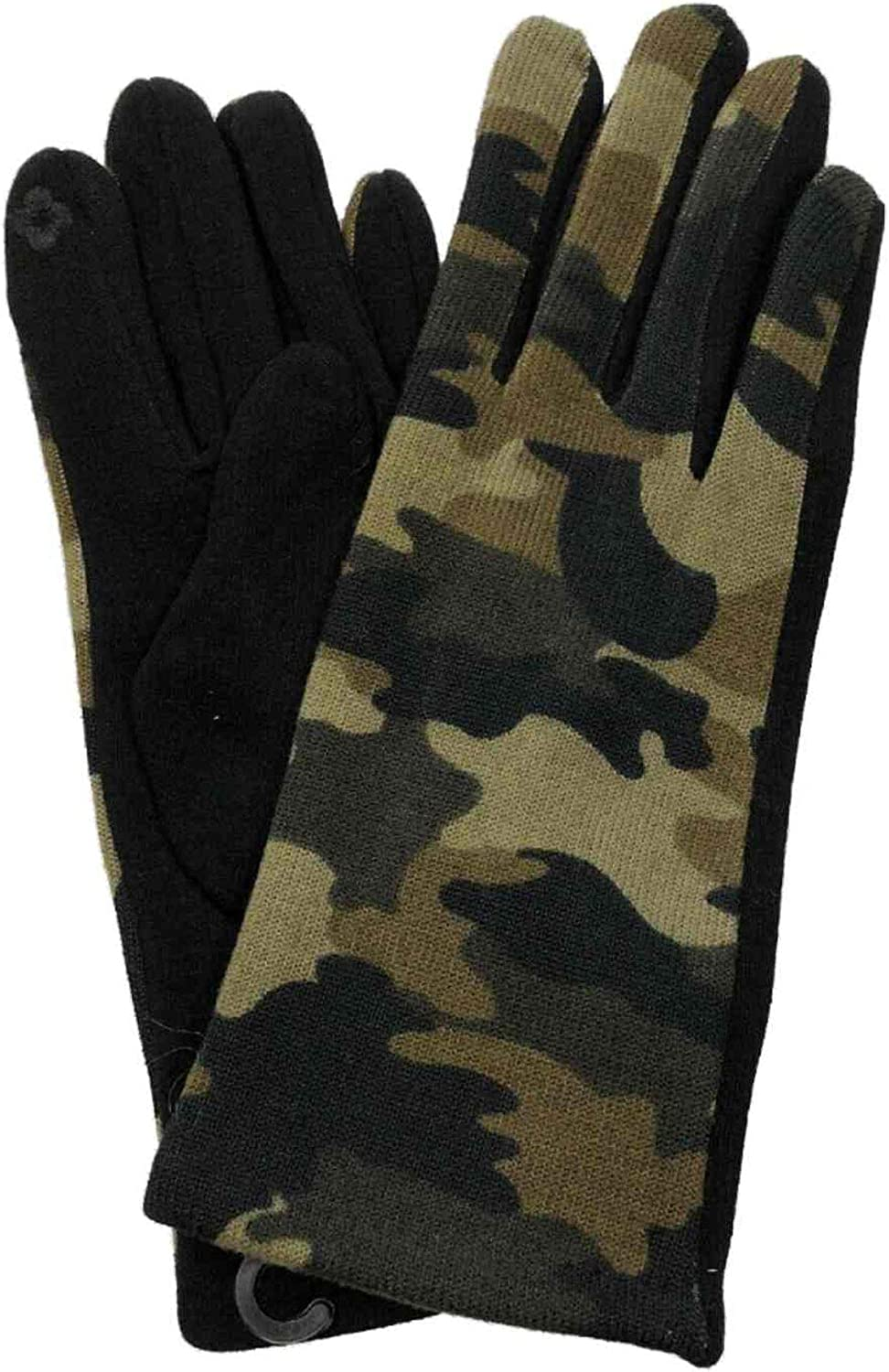 Womens Green Camo Stretch Fit Texting & Tech Touchscreen Gloves Camouflage