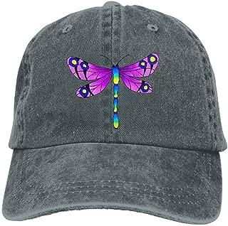 Colorful Dragonfly Denim Hat Adjustable Men Plain Baseball Hat