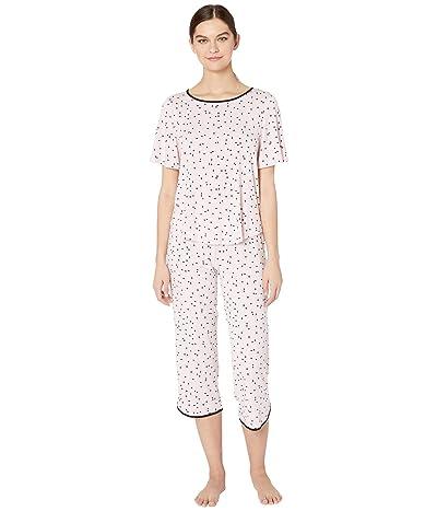 Kate Spade New York Evergreen Modal Jersey Short Sleeve Cropped PJ Set (Scattered Dot Pink) Women