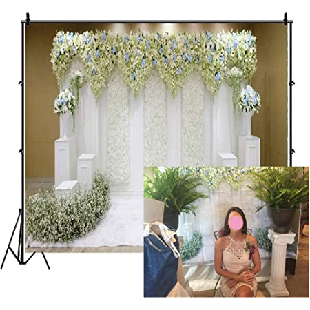 8x8FT Vinyl Backdrop Photographer,Colorful,Tiles with Flowers Background for Baby Birthday Party Wedding Graduation Home Decoration