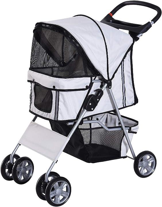 passeggino per cani pieghevole carrello per animali domestici carrello carrozzina grigio 75x45x97cm pawhut d00-058gy