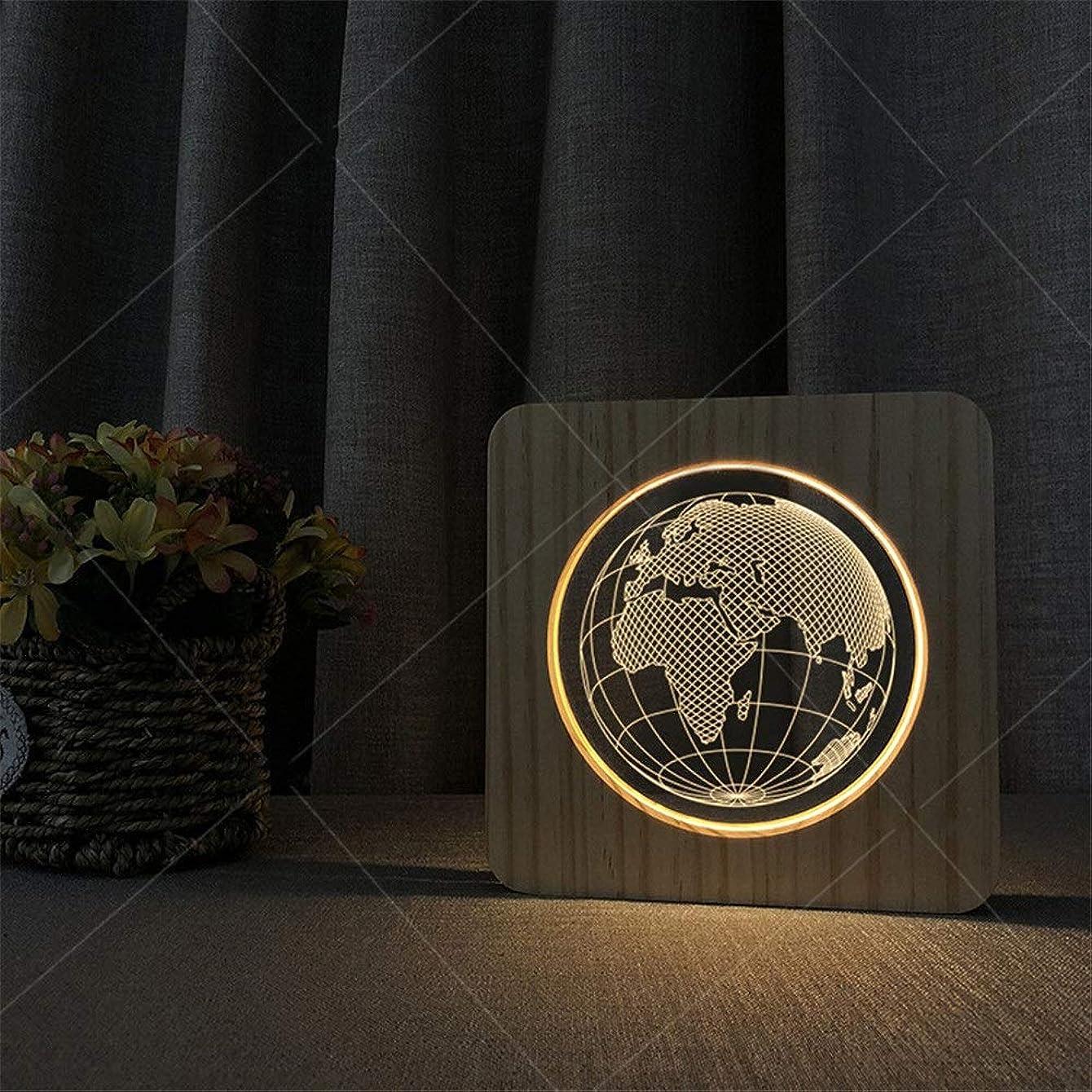 中央シャツ確立しますナイトライトled 3dアースパターンウッドアクリル錯覚ledライトオフィステーブルランプギフトリビングルームホームデコレーションusb電源 常夜灯 (色 : Wood, サイズ : 190*190*30mm)