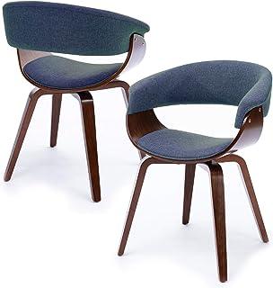 Gloop Hallo Home® - Juego de 2 sillas con reposabrazos, sillas de comedor y cocina, con lino y madera maciza, sillas de salón, para visitas, para oficina, ordenador