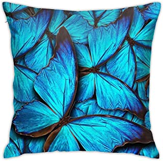 Fundas de Almohada Throw Many Blue Butterfly Square Funda de Almohada Decorativa Funda de Almohada Cojín para Dormitorio Sofá Sofá