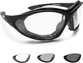 Bertoni Motorcycle Goggles Photochromic Antifog Lens - Interchangeable Arms and Elastic Strap - F333A Italy Motorbike Suns...