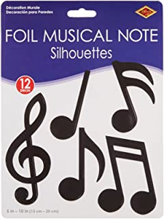 Beistle 12-Pack Foil Musical Note Silhouettes Party Decorations, 5-Inch-10-Inch