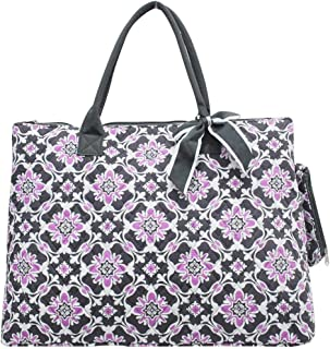NGIL Quilted Cotton Extra Large Overnight School Tote Bag 2018 Spring Collection (Purple Quatro Vine Grey)