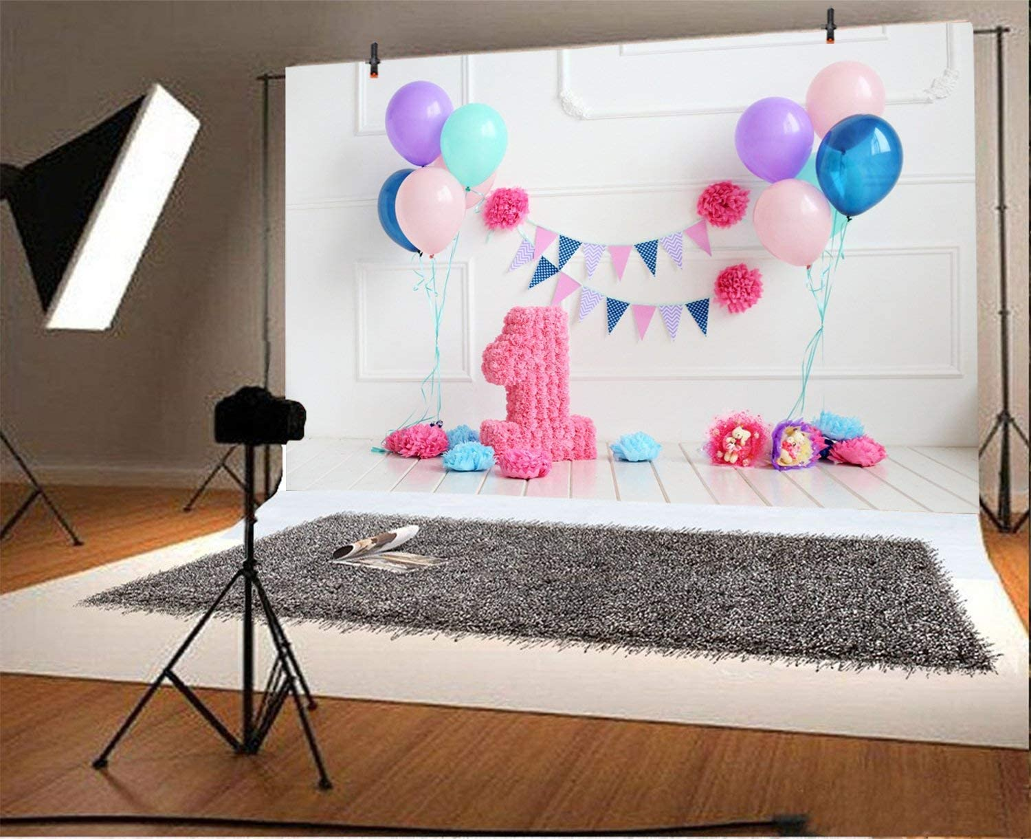 15x10ft Baby Girl First Birthday Party Backdrop Beautiful Babyroom Decor Balloons Haning Lighting Strings Fireplace Cake Smash Background for Photography Photo Studio Props
