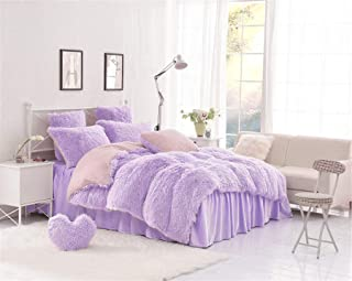 MooWoo 4PCS Luxury Plush Fluffy Bedding Sets, 1 Faux Fur Duvet Cover + 1 Fleece Flannel Bed Sheet Skirt + 2 Furry Shaggy Pillow Sham, Zipper Closure and Ties (Purple, Queen)