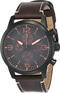 CITIZEN Mens Solar Powered Watch, Chronograph Display and Leather Strap - CA0617-11E