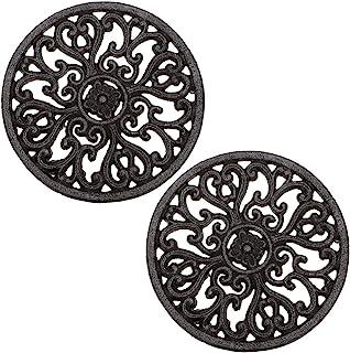 Sumnacon - Juego de 2 salvamanteles de hierro fundido decorativos, redondos, con diseño vintage