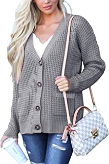 MEROKEETY Womens Waffle Knit Button Down Chunky Cardigan V Neck Long Sleeve Sweater with Pockets