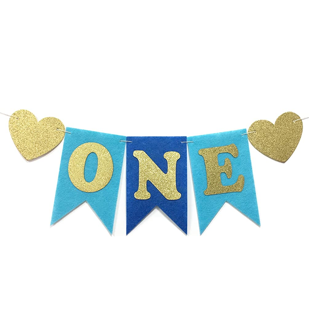 Honbay Baby 1st Birthday Party Decorations, Glitter Gold Letter Felt Banner for High Chair or Wall Decor, Blue