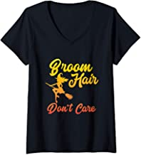 Womens Broom Hair Don't Care Witch Broomstick Witchcraft Gift V-Neck T-Shirt