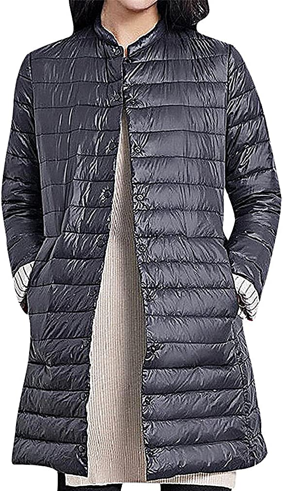 US&R Women Solid Color Quilted Chinese Collar Button Up Long Down Jacket