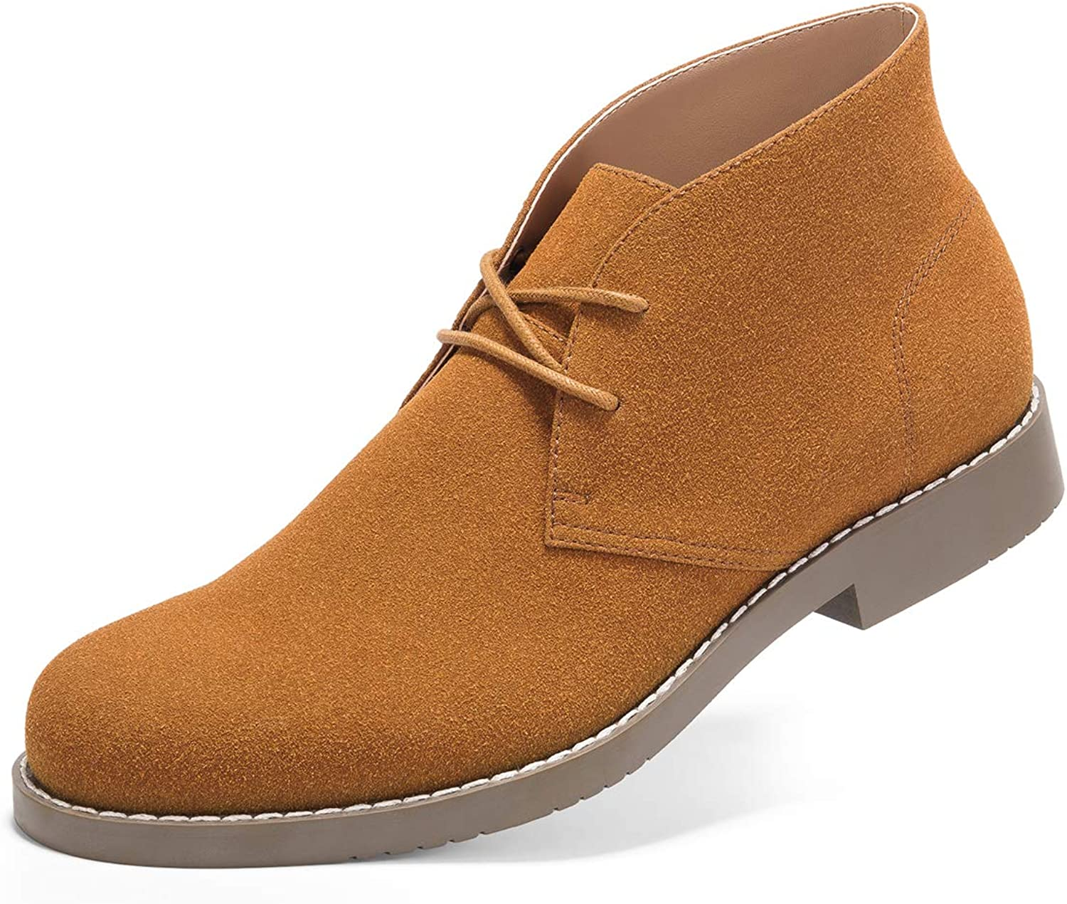 GM GOLAIMAN Suede Chukka Boots for Men-Lace Up Desert Boots Ankle Casual Boots Stylish Street Walking shoes Brown 7.5