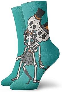 tyui7, Calcetines de compresión antideslizantes de calavera de pareja de Halloween Calcetines deportivos de 30 cm acogedores para hombres, mujeres y niños