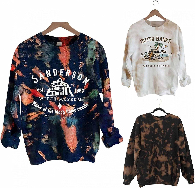 KEYEE Halloween Shirts for Women Long Sleeve Tie Dye Sweatshirt for Women Printed Color Block Pocket Hoodie Pullover Blouses