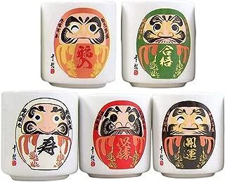 Japanese Ochoko Daruma Design Sake Cups, Set of 5