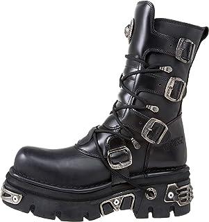 New Rock 373-S4 Boots Couleur Noir Réacteur Metallic Por Hommes Cuir Naturel Style Gothique Rock Motard