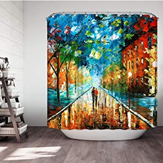 Vividhome Lovers Love Faith Theme Oil Painting Romantic Shower Curtain Fall Forest Park Cute Couple Polyester Fabric Waterproof Bathroom Shower Curtains Liner with 12 Rust Proof Hooks 72x72 (Colorful)