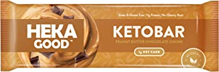Heka Good Foods Low Carb Keto Bars, Peanut Butter Chocolate Chunk, 1g Net Carb, 11g Protein, No Sugar Added, Grain & Glute...