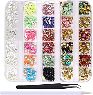 WOKOTO 4 Boxes Colorful Nail Rhinestones Flat Back Square Metal Nail Art Studs Mix-Color Rivet Nail Jewelry Decorations Wi...