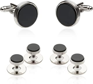 Mens Tuxedo Cufflinks and Studs Formal Set in Black Onyx and Silver with Presentation Box