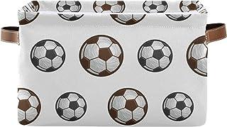 DOMIKING Panier de rangement rectangulaire avec poignées - Panier de football - Panier de rangement pour jouets et animaux...