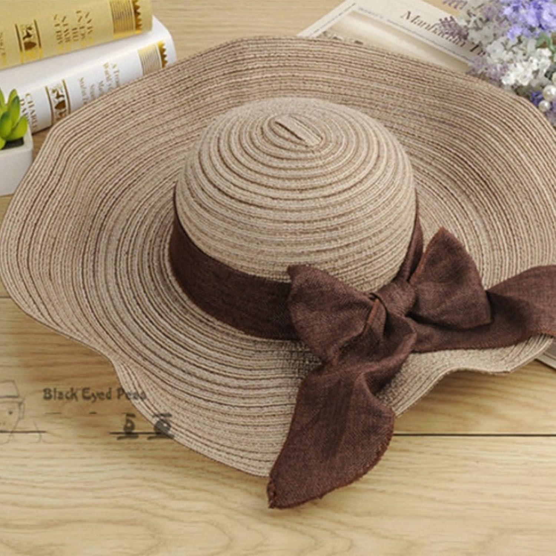 Summer Beach Visor Hat Cotton Bow Bow Straw Hat UPF 50+ UV Predection Sun Hat Beach Hat Foldable (color   C)