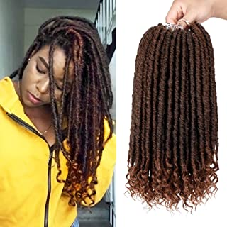 16 Inch Straight Goddess Locs Crochet Hair Faux Locs with Curly Ends 6 Packs/lot Crochet Twist Braiding Hair 24 Roots Black Mixed Brown Synthetic Goddess Locs Hair Extension(1B/30)